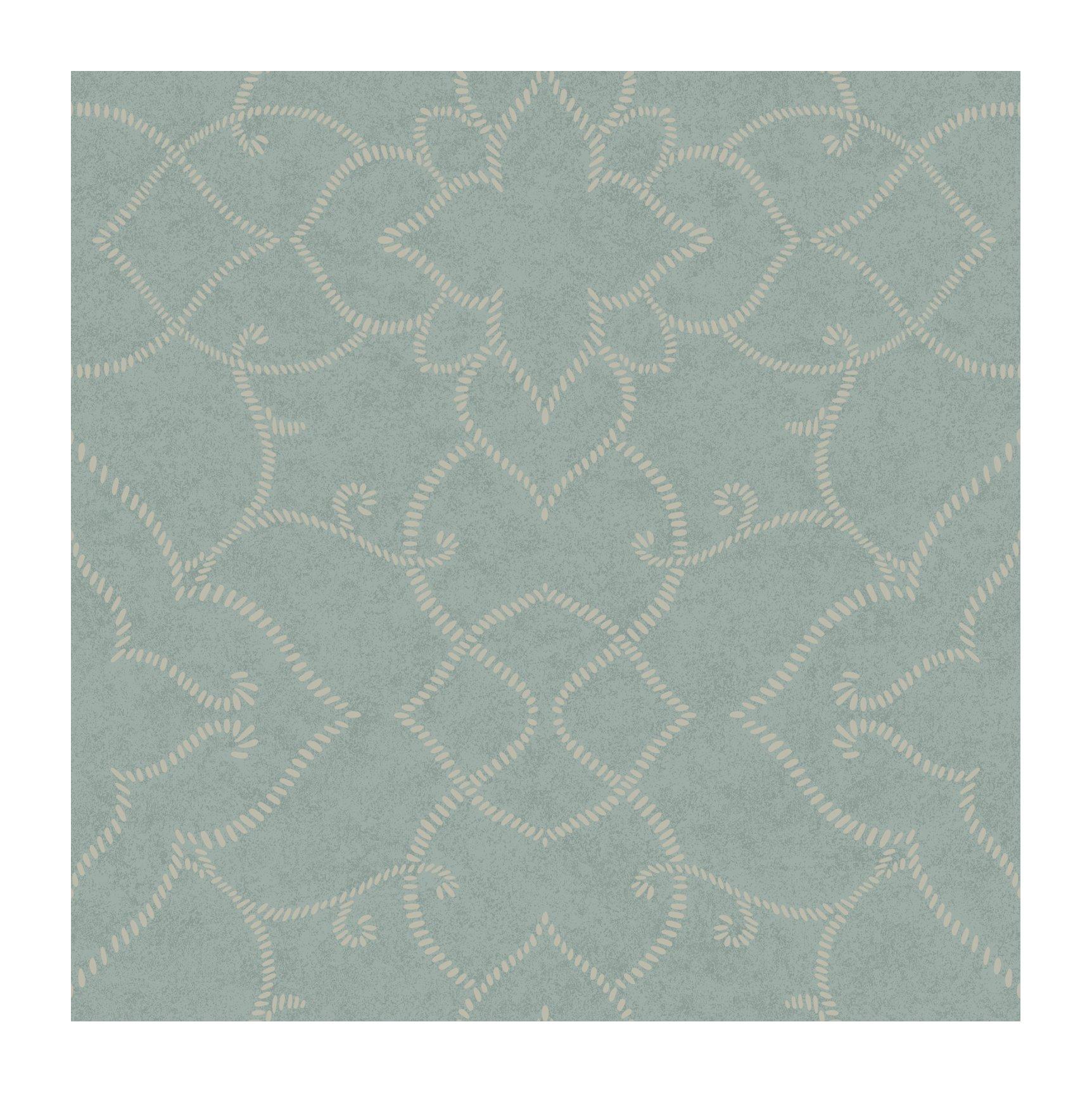 York Wallcoverings LD7692 Jewel Box Starling Wallpaper, Aqua Teal/Grayed Teal/Platinum Pearl Metallic