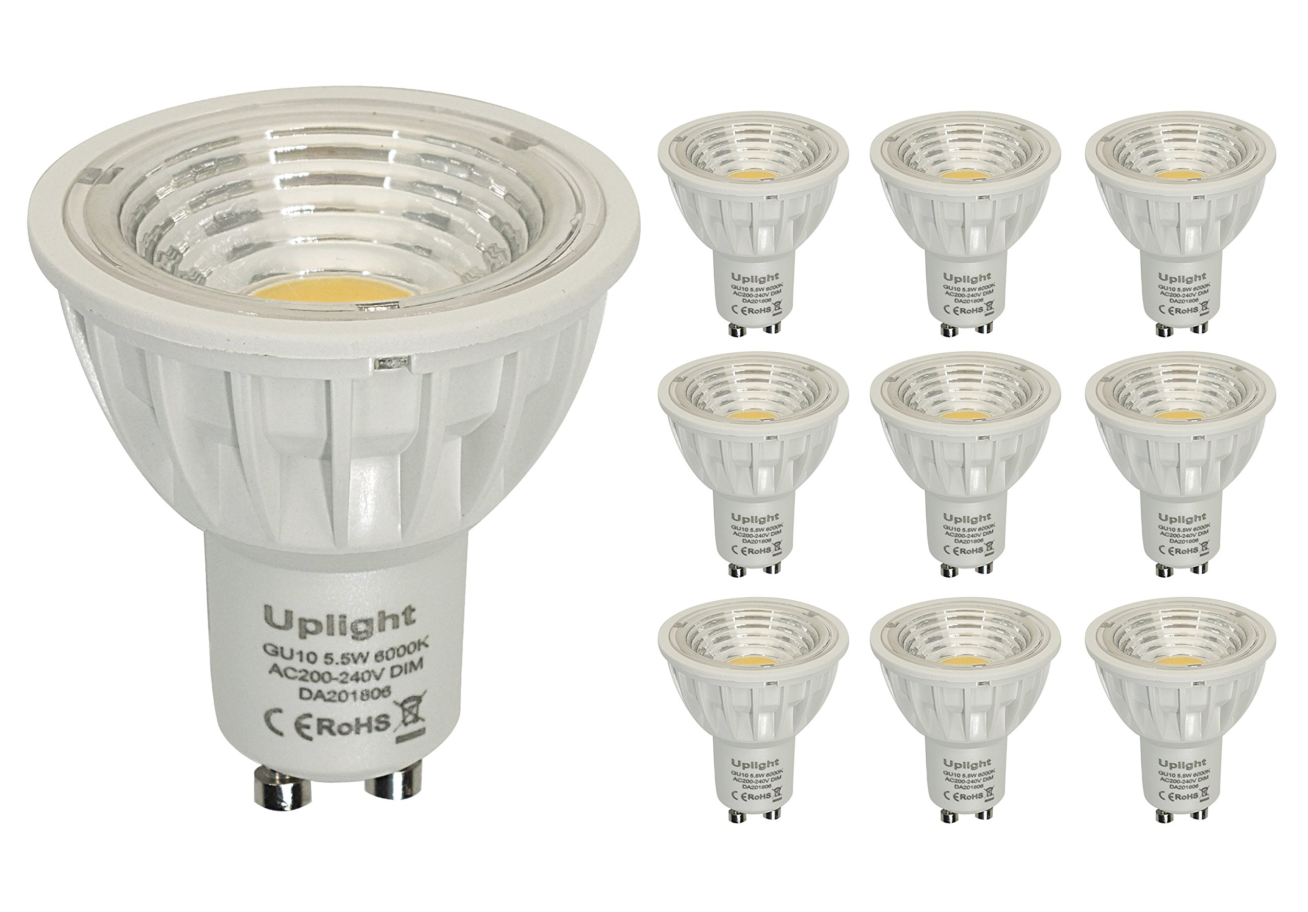 Regulable GU10 LED Bombillas Equivalentes 50-60W Halógenas 6000K Blanco Frío 5.5W RA90 550LM