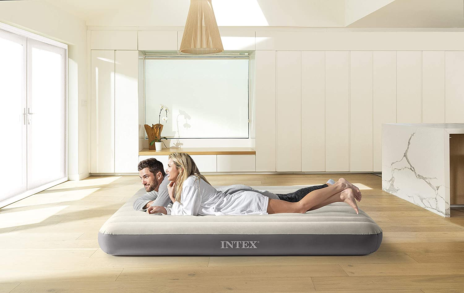 Intex - Colchón hinchable Dura-Beam Standard DELUXE Single-High - 152 x 203 x 25 cm (64103), 152 x 203 cm, inflable, pvc (93%), abs (1%), polyester ...