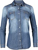 Made by Emma MBE Women's Slim Long Sleeve Chambray Western Denim Button Down Shirt