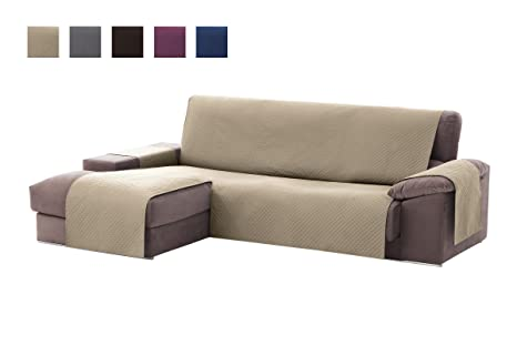 textil-home Funda Cubre Sofá Chaise Longue Adele, Protector para Sofás Acolchado Brazo Izquierdo. Tamaño -240cm. Color Beig (Visto DE Frente)