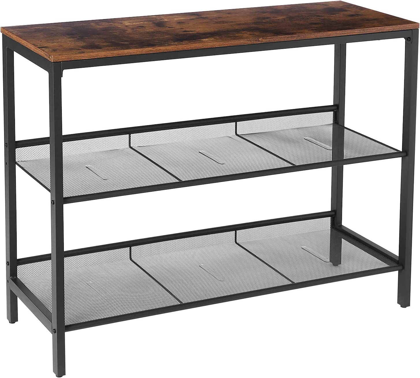HOOBRO Console Table, Sofa Table with 2 Flat or Slant Adjustable Mesh Shelves, Hallway Table and Sideboard in Entryway, Living Room Corridor, Easy Assembly, Industrial, Rustic Brown and Black BF01XG01