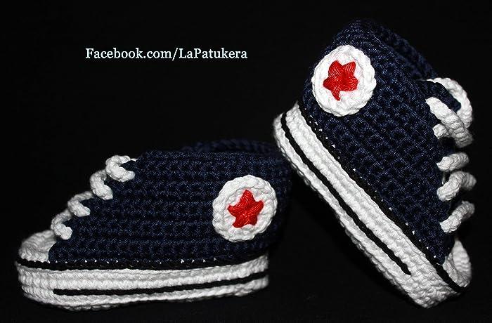 Babyschuhe Häkeln Unisex Stil Converse All Star Farbe Marineblau