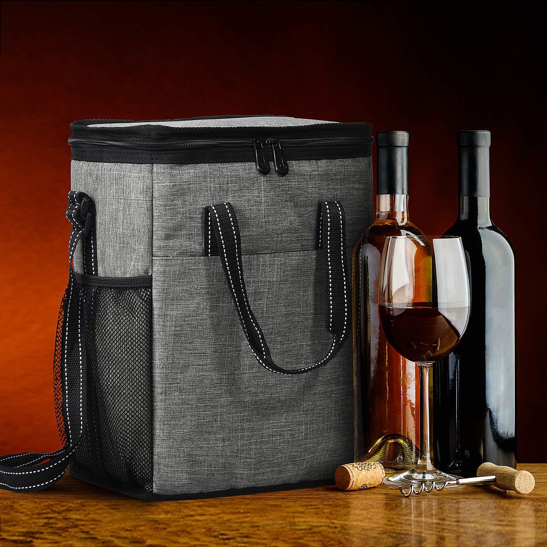 Kato - Bolsa de transporte para 6 botellas de vino, aislante a prueba de fugas, acolchada, para viajes, acampadas y picnics, regalo perfecto para amantes ...