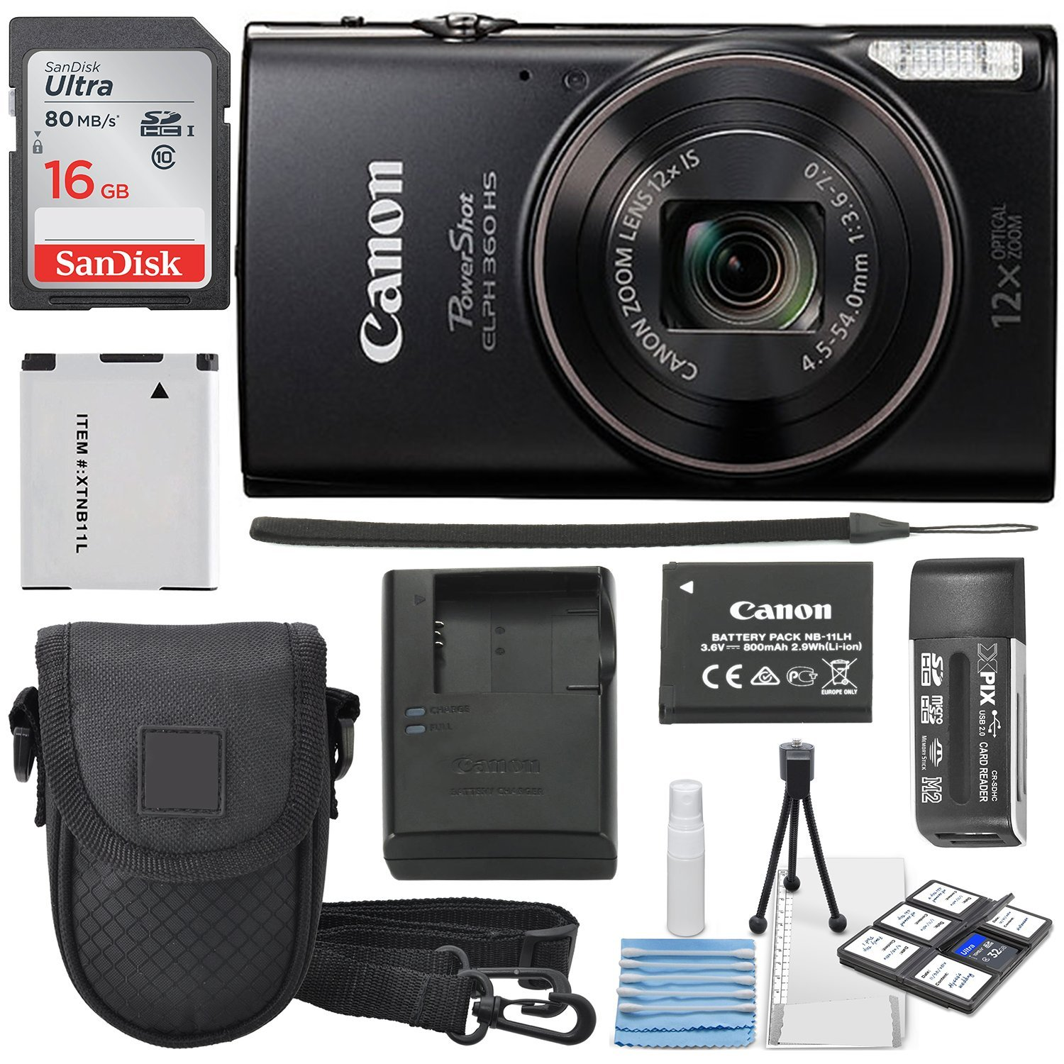 Canon PowerShot ELPH 360 HS (BLACK ) with 12x Optical Zoom and Built-In Wi-Fi with Deluxe Starter Kit Including 16 GB SDHC Class10 + Extra battery + Protective Camera Case by Canon