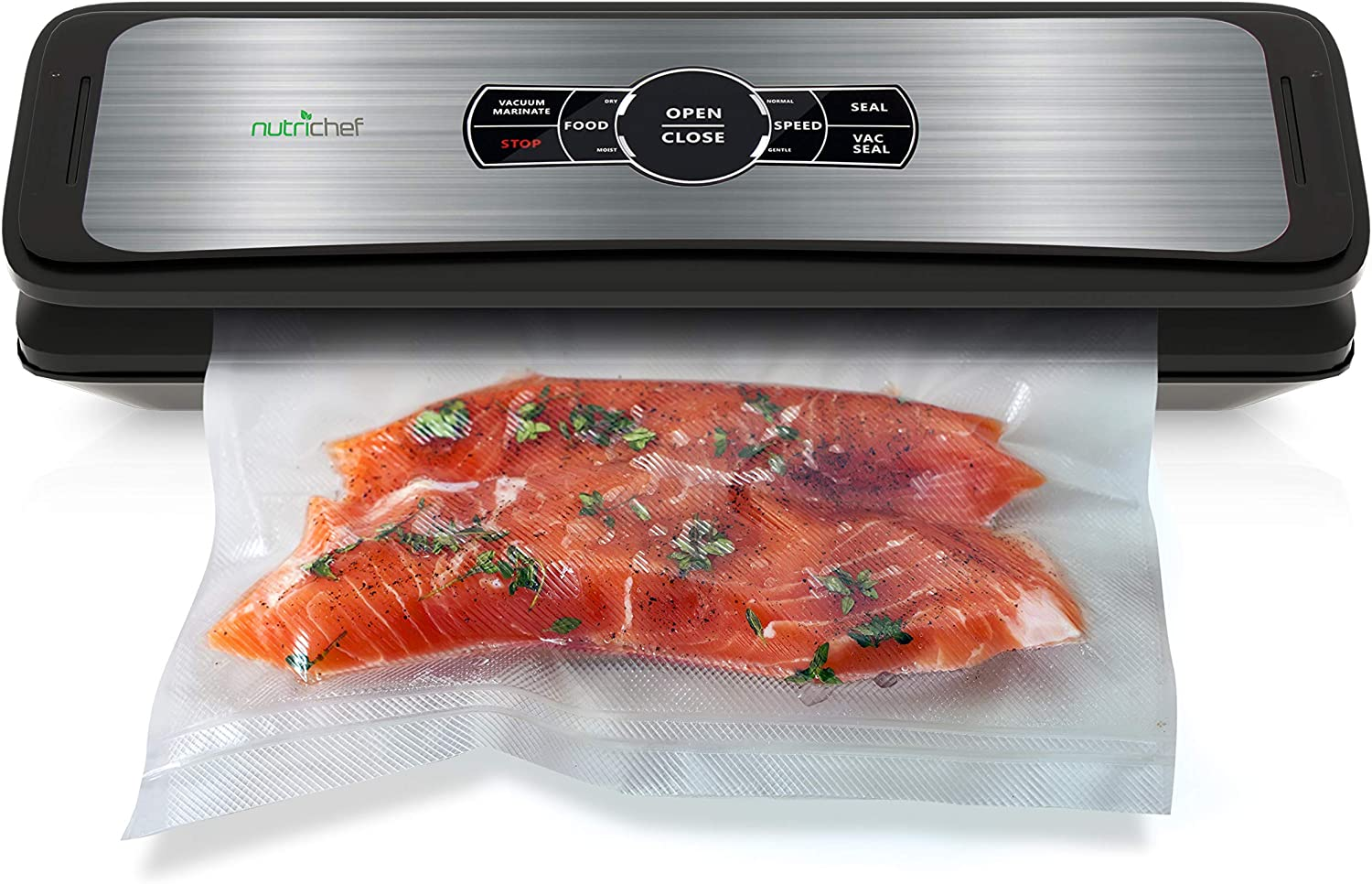 Nutrichef PKVS45STS Upgraded Sealer Automatic Vacuum Air Sealing System For Food Preservation w/Starter Kit | Compact Design, Lab Tested | Dry & Moist Mode, Built-in Bag Cutter, 2020 Model