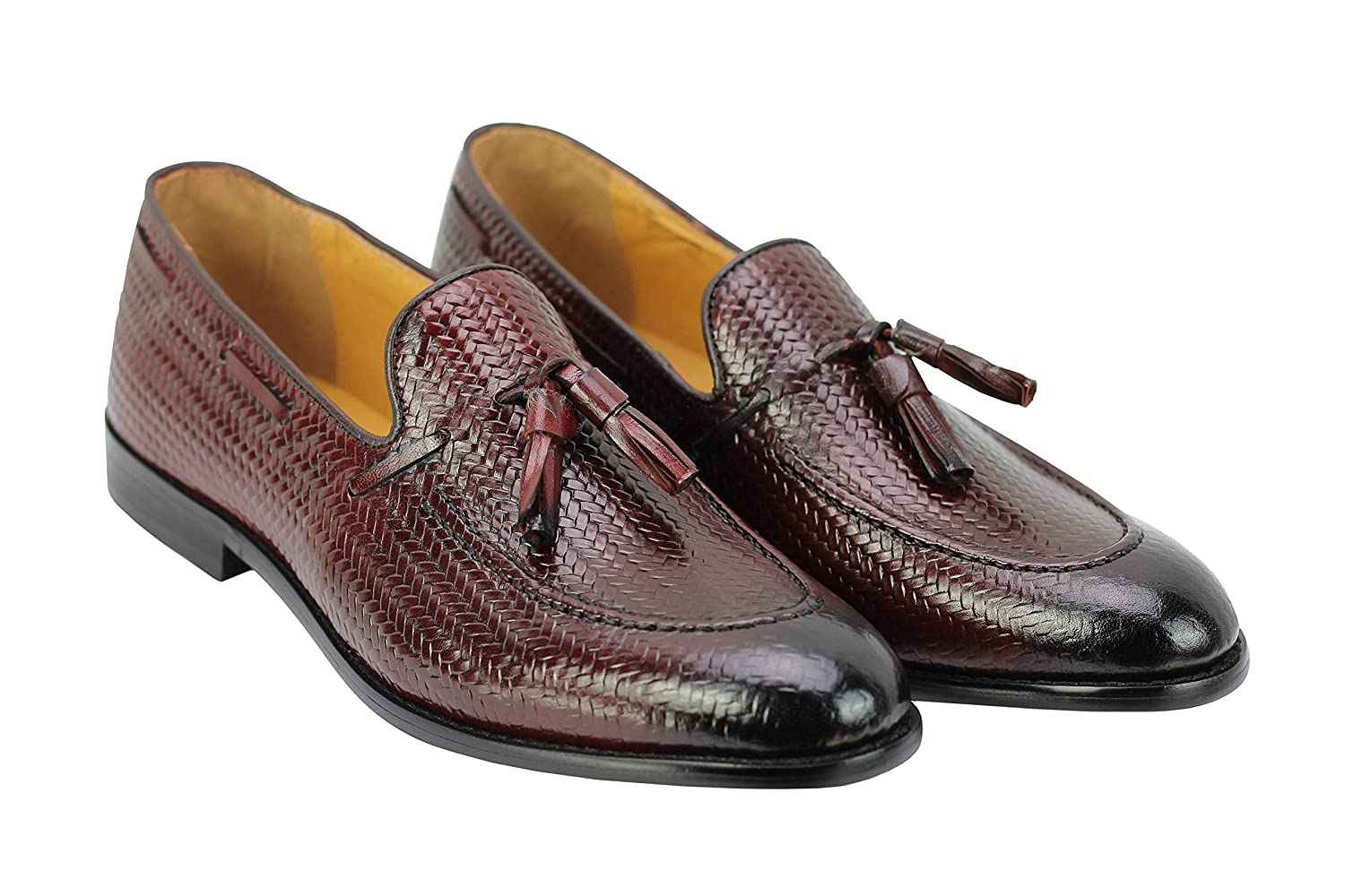 6f7f30c1421 Mens Brown Real Leather Tassel Loafers Smart Casual Snakeskin Print Retro  MOD Slip on Shoes  Amazon.co.uk  Shoes   Bags