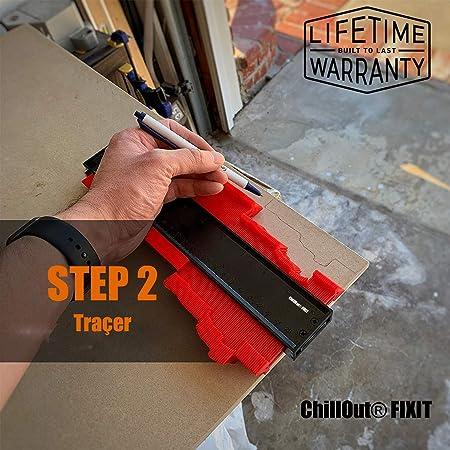 Chillout® FIXIT - Medidor de contornos grande con seguro para suelo indicador de perfil forma (250 mm): Amazon.es: Bricolaje y herramientas