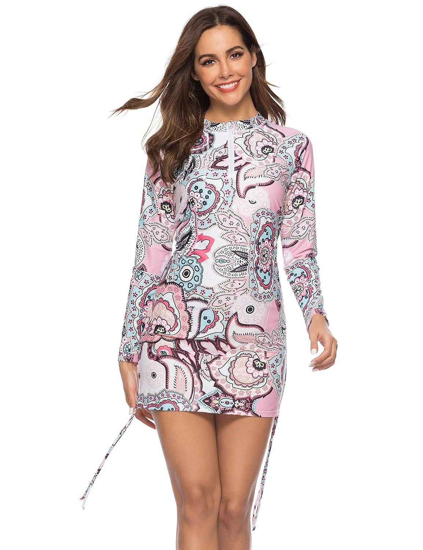 Caracilia Womens Long Sleeve Half-Zip Sun Protection Rashguard Side Adjustable Swim Shirt CA-105