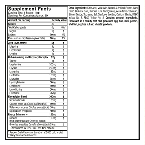 MuscleTech Essential Series Platinum Amino Plus Energy BCAA Powder,  Tropical Mango, 11 19 Ounce,