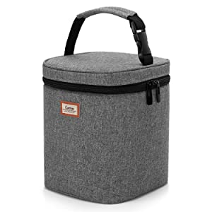 CURMIO Breastmilk Cooler Bag for Four Bottles up to 9 Oz, Insulated Baby Bottle Bag, Perfect for Daycare Travel Nursing Mom, Bag Only, Grey