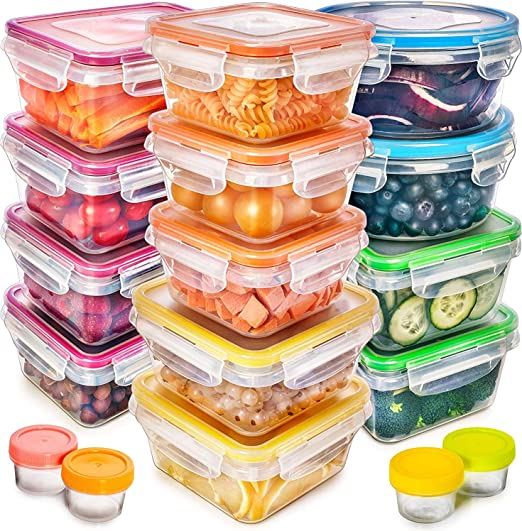 Food Storage Containers with Lids - Plastic Food Containers with Lids -  Plastic Containers with Lids Storage (17 Pack) - Plastic Storage Containers  ...
