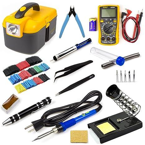 Ziss Soldering Iron Tool Kit Electronics Adjustable Temperature Welding Tool with Digital Multimeter, 5pcs Soldering