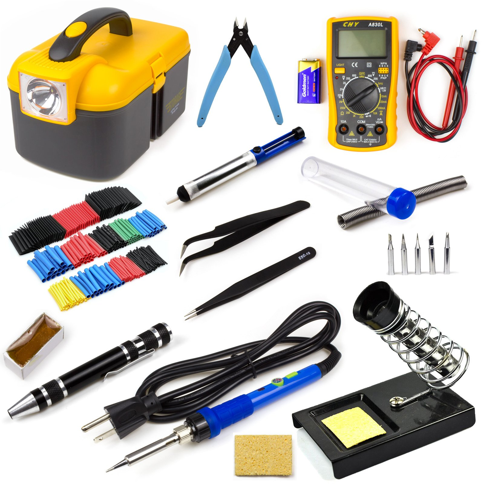 Ziss Soldering Iron Tool Kit Electronics Adjustable Temperature Welding Tool With 5pcs Soldering Tips and 328pcs Heat Shrinkable Tube