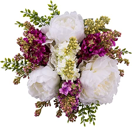 Fake Flowers Artificial Flower Decoration Composition Faux Peonies Artificial Lilacs Silk Flower Box Spring Decor Gift 11 28 Cm Amazon Co Uk Kitchen Home