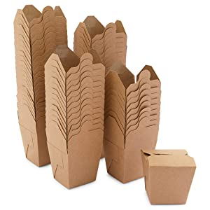 Small Take Out Boxes, Mini Kraft Paper to-Go Food Containers (8 oz, 60 Pack)
