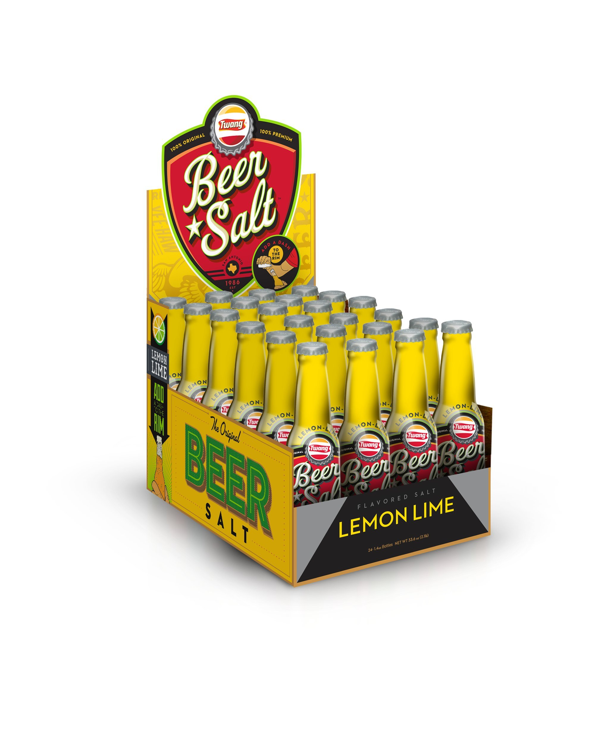 Twang the Original Beer Salt, Lemon-Lime, 1.4-Ounce Bottle, 24 Counts