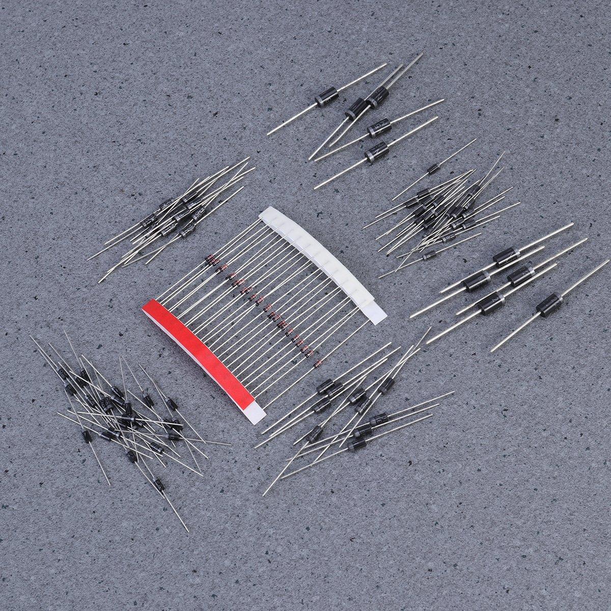 UEETEK 100pcs Rectifier Diode Assorted Kit with 8 Modles 1N4148 1N4007 1N5819 1N5399 FR107 FR207 1N5408 1N5822