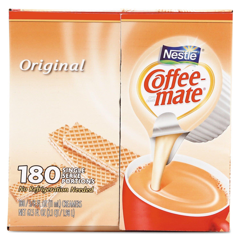 Coffee-mate 753032 Liquid Coffee Creamer, Original, 0.375 oz Mini-Cups, 180 per Box