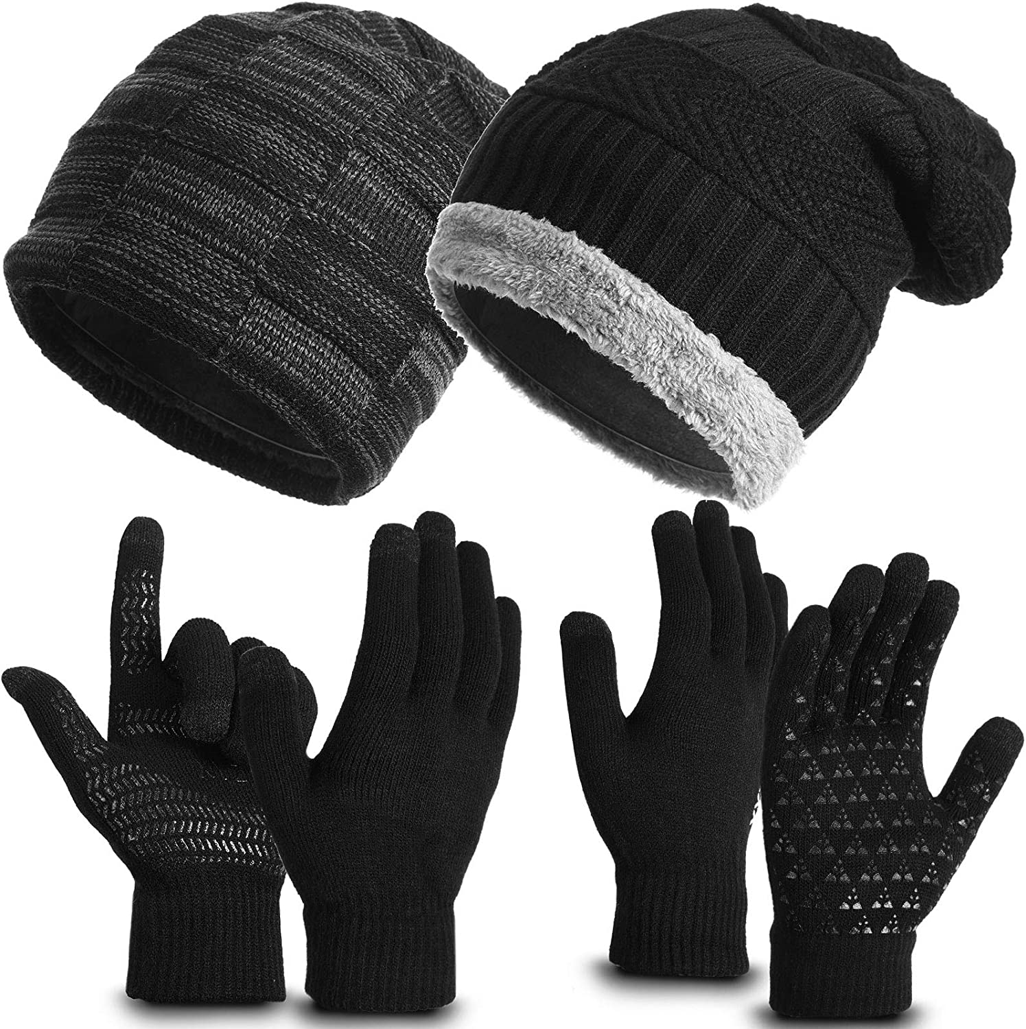 Winter Beanie Hats Gloves Set Include 2 Pieces Slouchy Snow Knit Skull Cap and 2 Pairs Touch Screen Gloves with Anti-Slip Silicone Gel for Men and Women