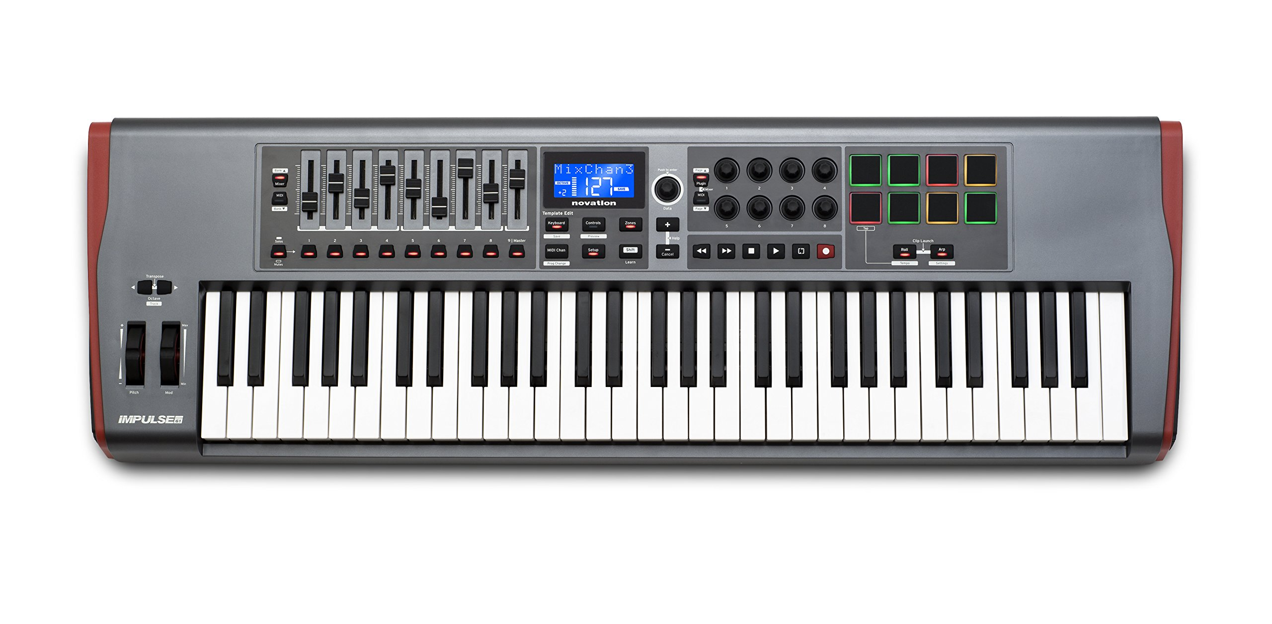 Novation Impulse 61 USB Midi Controller Keyboard, 61 Keys by Novation