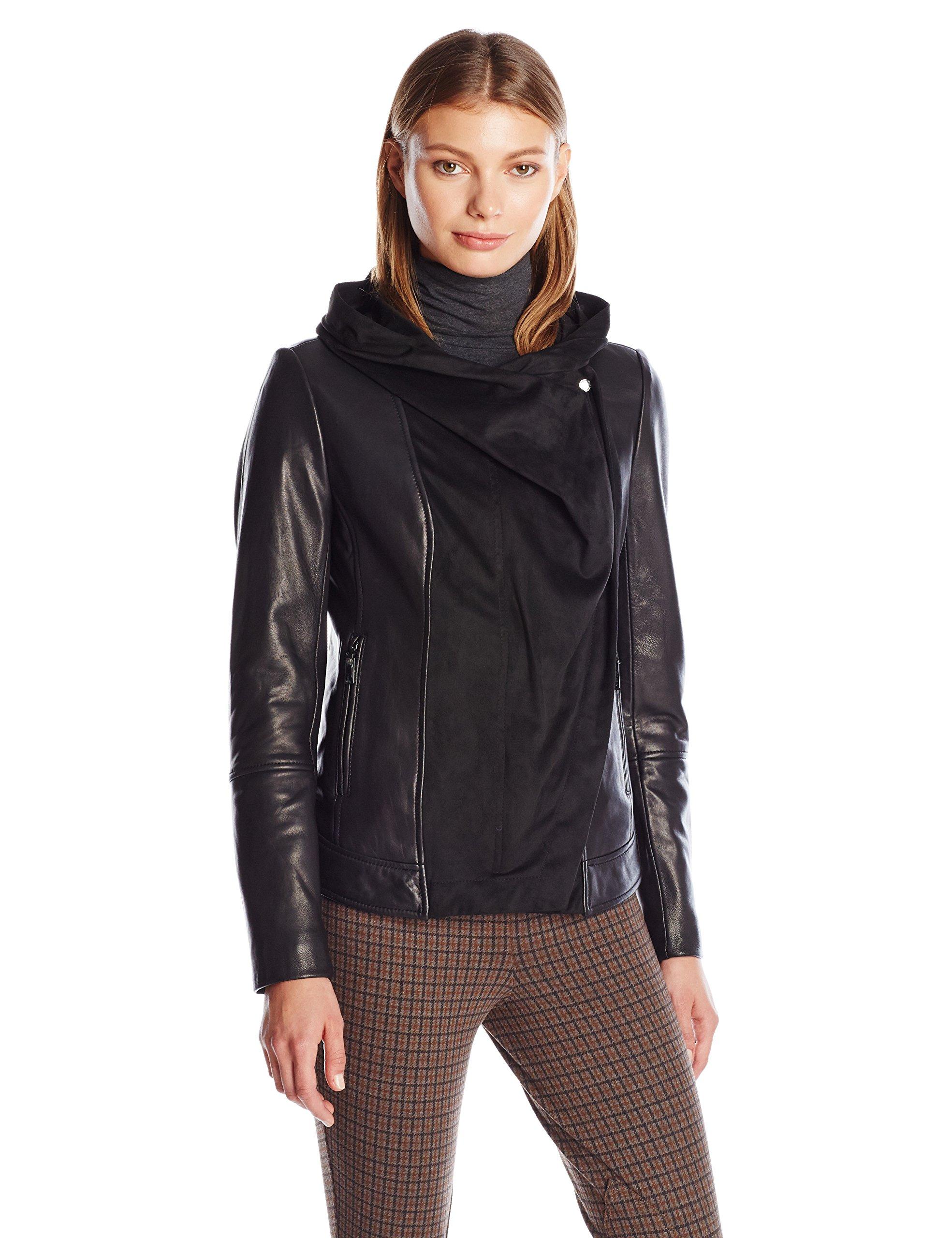 Vince Camuto Women's Asymmetrical Zip Mix Media Leather Jacket, Black, L