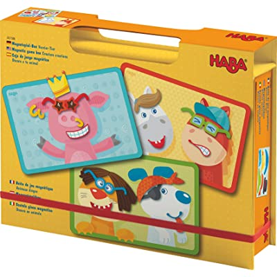 HABA Creature Creations Magnetic Game Box - 51 Hilarious Magnetic Pieces with 3 Backgrounds in Cardboard Carrying Case: Toys & Games