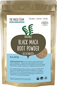 The Maca Team Gelatinized Black Maca Powder, Fair Trade, Vegan, GMO-Free, Premium Maca, 8 Ounces, 25 Servings