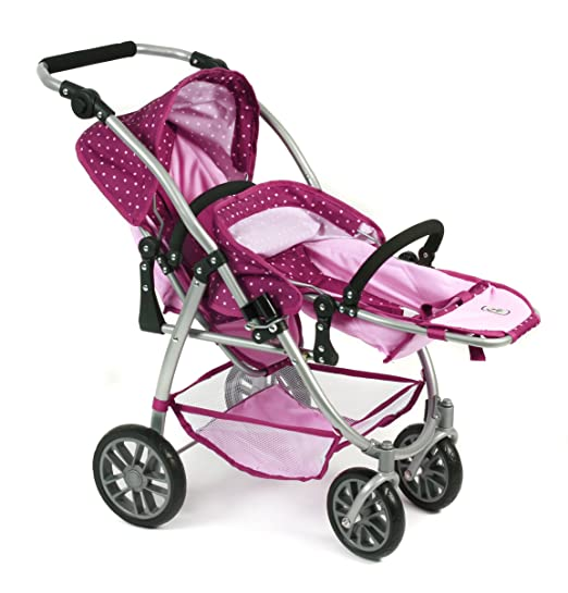 Amazon.com: Bayer Chic 2000 689 29 – Tandem Buggy Vario, BlackBerry, Purple/Pink: Toys & Games