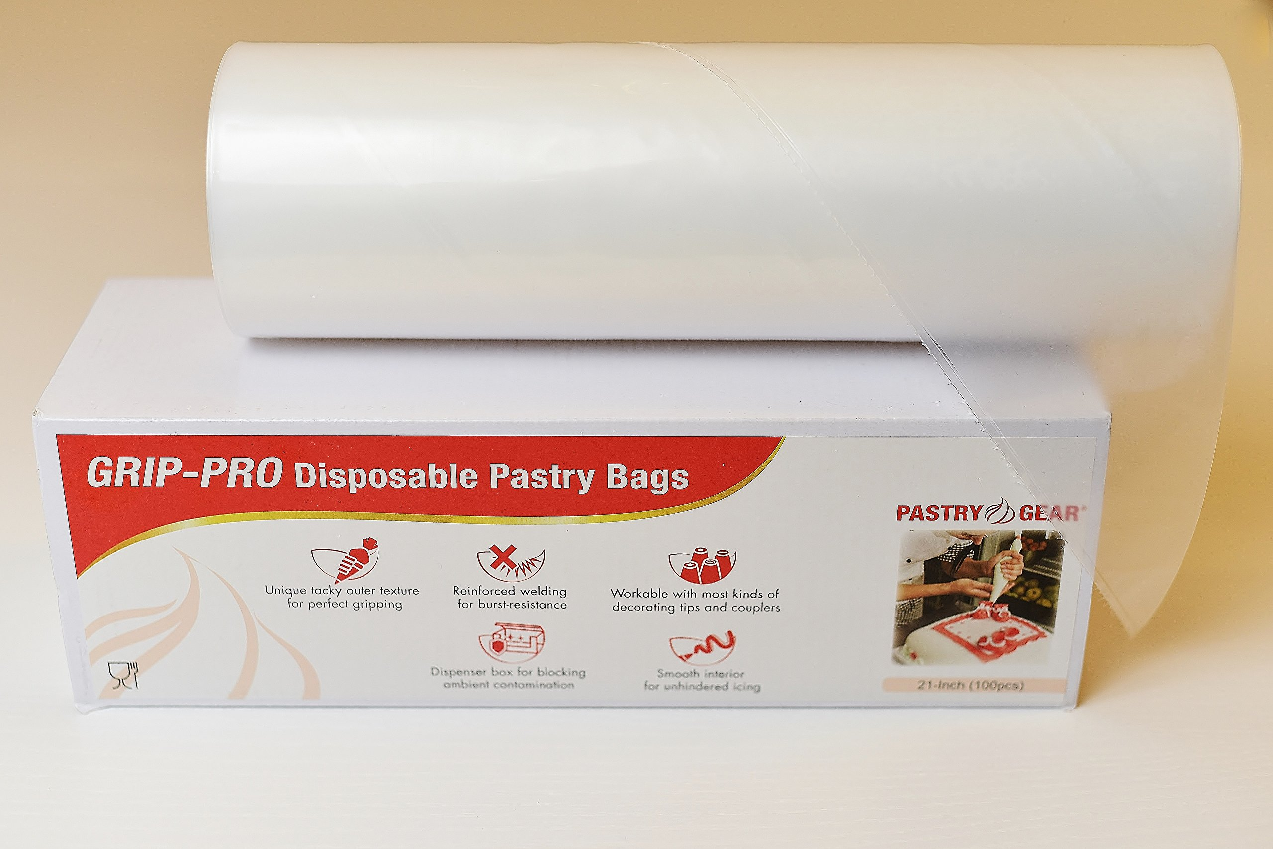 PastryGear Grip-Pro 21-Inch Anti-slip Ultra Thick Disposable Pastry / Piping Bags with Dispenser (Roll of 100 Pcs)