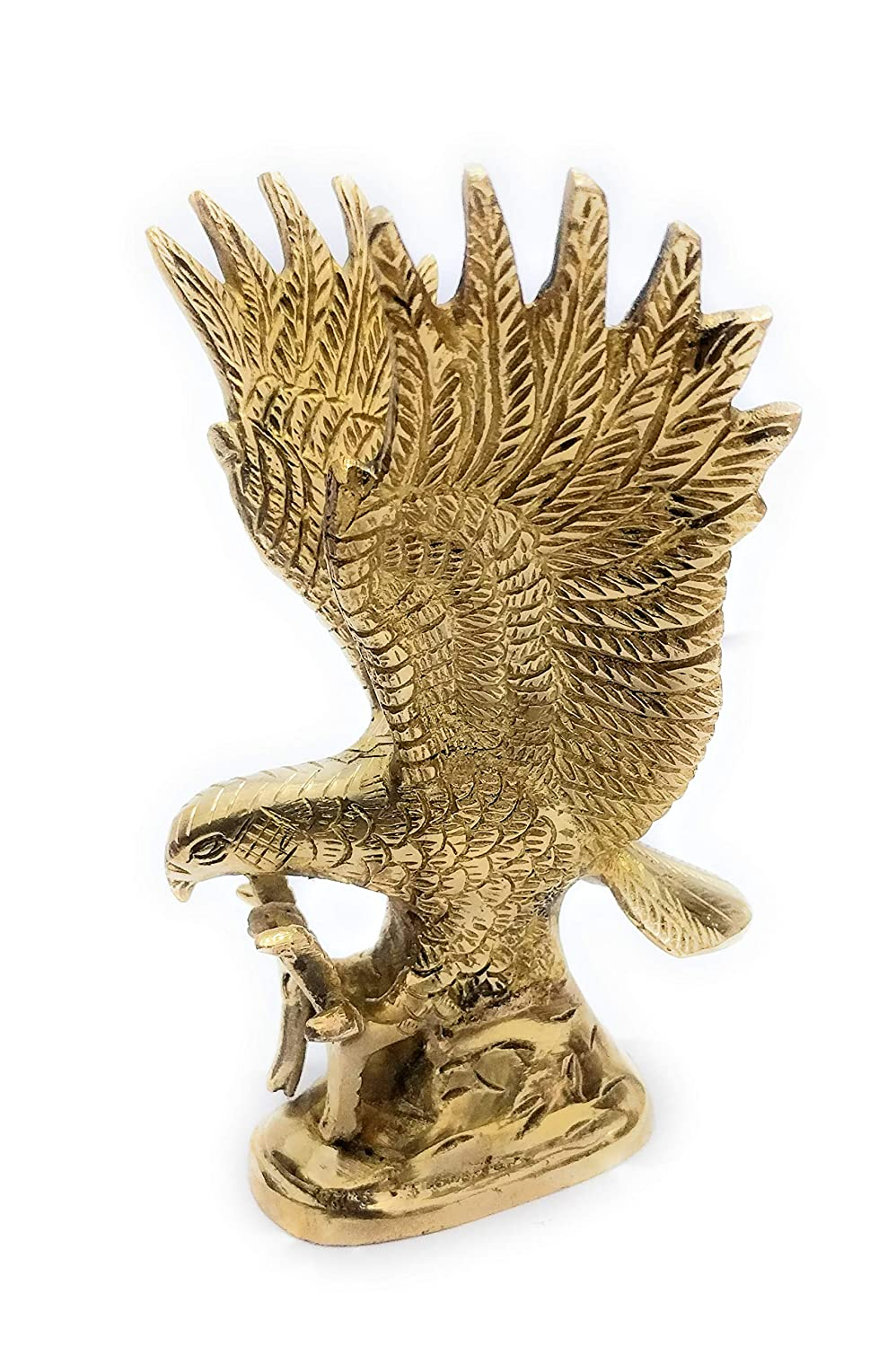athizay Brass Eagle Statues and Figurines 16cm Gold Finish Bird Sculpture Showpiece for Home Decor Men Gifts Item