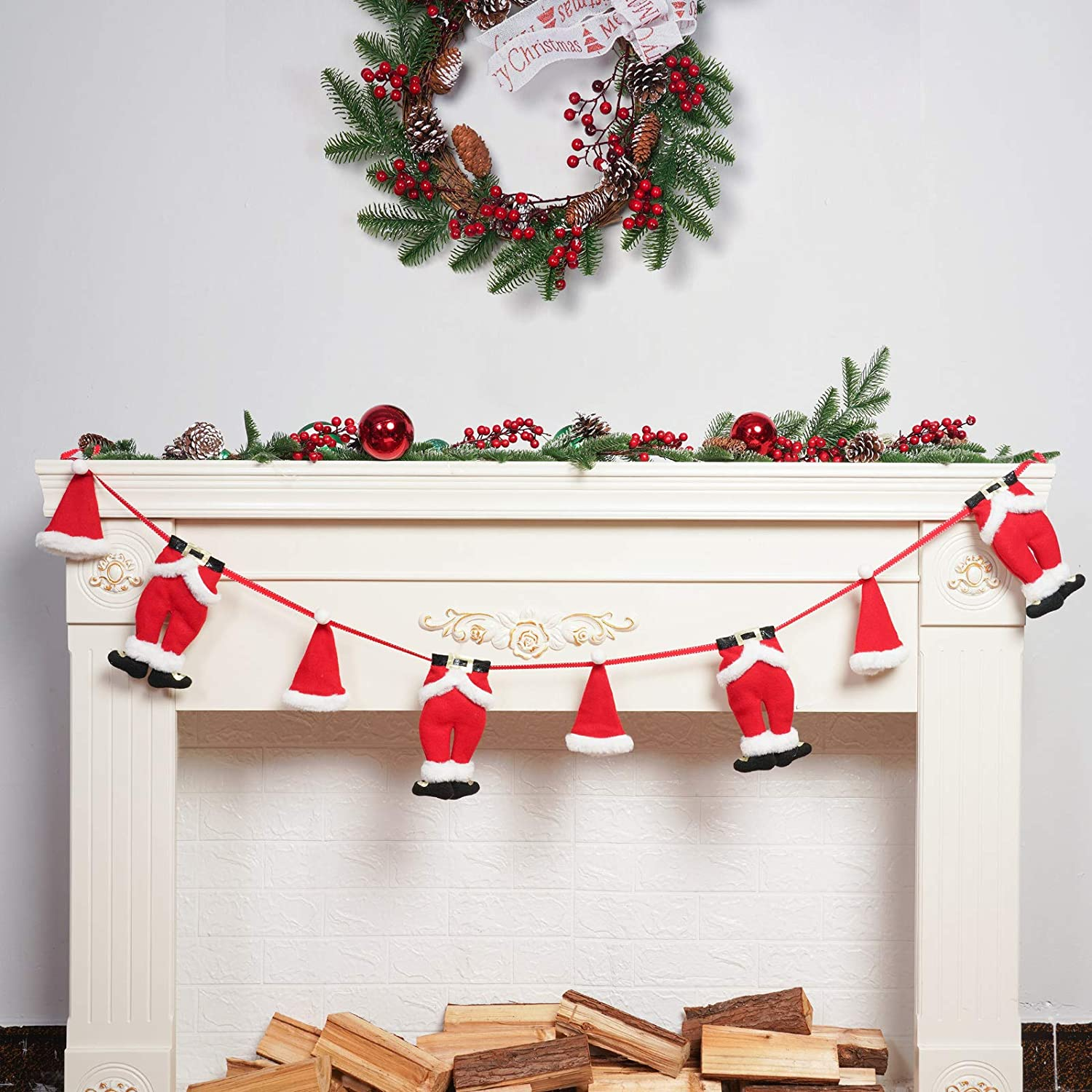 ALLYORS Christmas Graland Mini Outfits Clothesline Garland, Santa/ELF/Snowman Laundry String Banner for Xmas Classic Themed Home Decoration & Ornament on Fireplace/Wall (Santa)