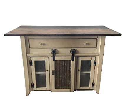 Amazoncom Kitchen Island With Barn Door Counter Height Amish - Amish kitchen island