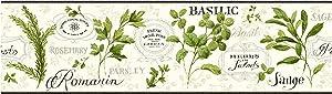 York Wallcoverings KITCHEN & BATH AROMATIQUE BORDER white, pale taupe, yellow/green, black, shining silver