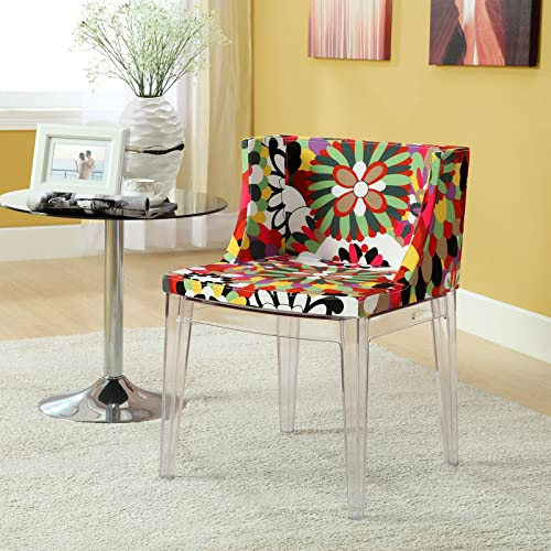 Modway Flower Vintage Modern Acrylic Upholstered Fabric Kitchen and Dining Room Chair in Clear