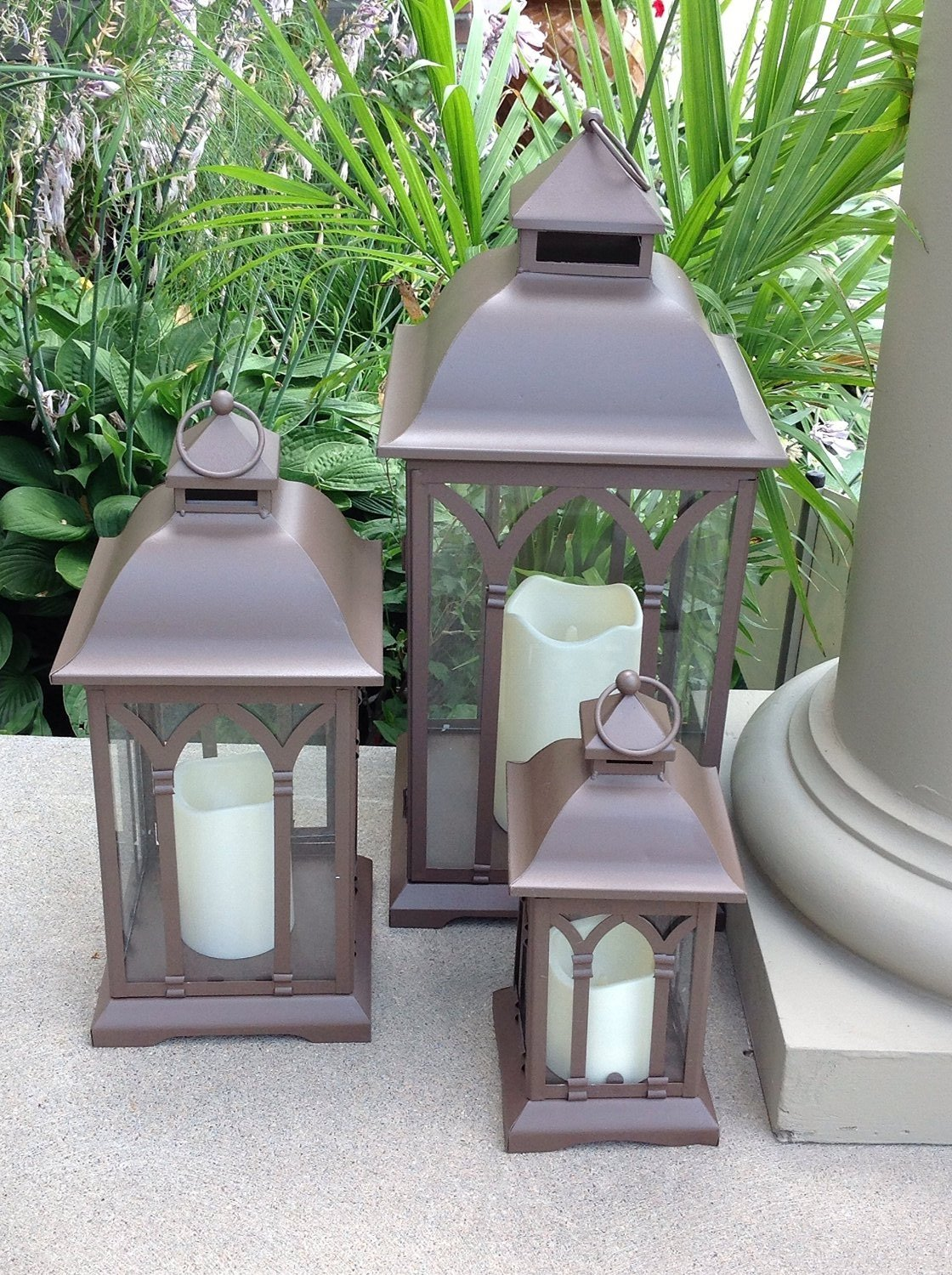 Amazon.com : Pebble Lane Living 3pc Set of Outdoor Large Indoor or Outdoor  Hanging Tabletop Patio Lanterns - Bronze : Landscape Lighting Transformers  ... - Amazon.com : Pebble Lane Living 3pc Set Of Outdoor Large Indoor Or