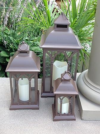 3pc Set Of Outdoor Large Indoor Or Outdoor Patio Lanterns   Bronze