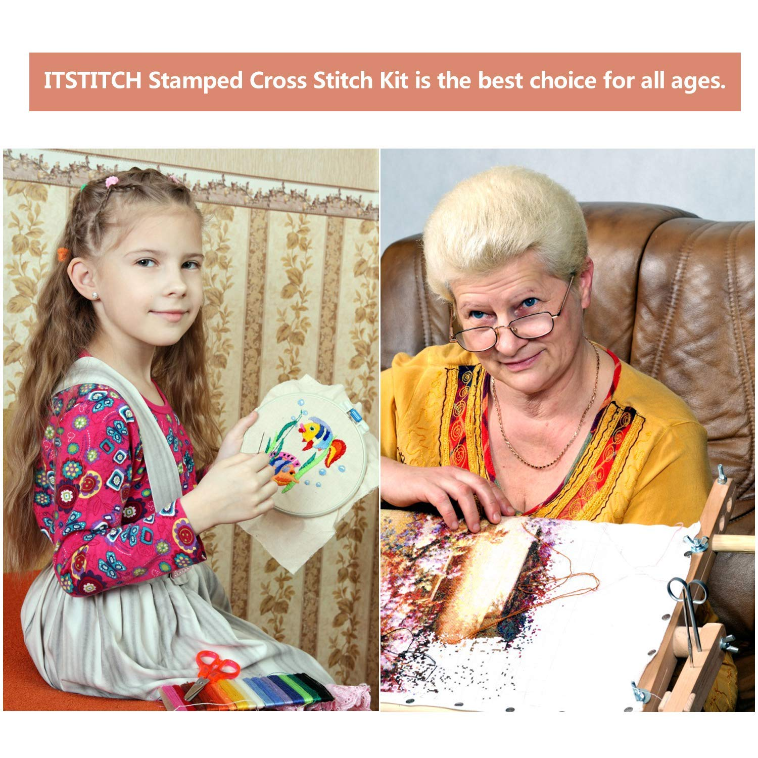 Embroidery Kits Needlepoint Crafts Starter Kits The Countryside Kits for Home Wall Decoration Cross Stitch Stamped Kits Pre-Printed Cross-Stitching with Patterns for Beginner Kids Adults