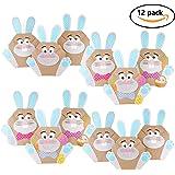 12 Sacchetti Fai-Da-Te a forma di coniglietto pasquale - sacchetti pasquali colorati da riempire a piacere - Primavera - Impacchettare regali per grandi e bambini