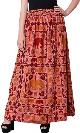 Exotic India Falda Larga elástica Lavada a Piedra con Elefantes ...