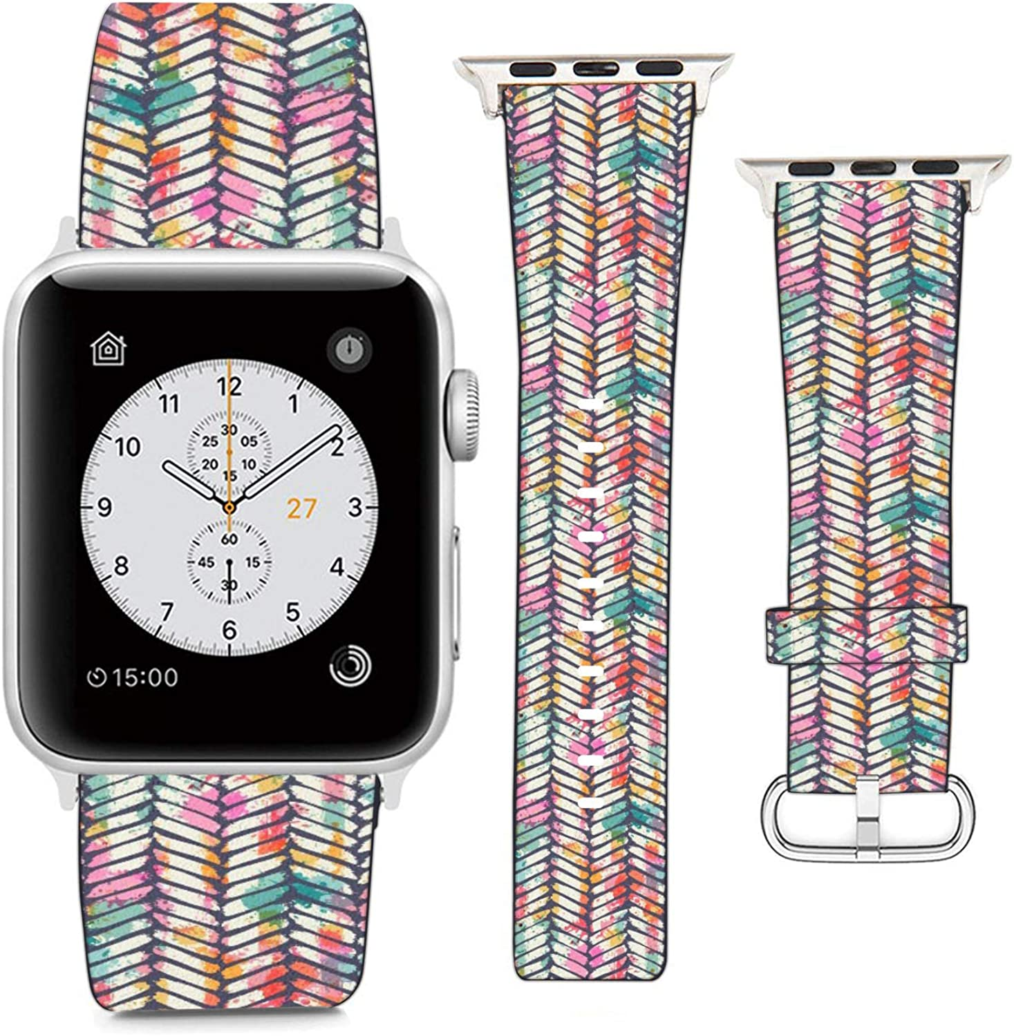 Compatible with Apple Watch Wristband 42mm 44mm, (Grunge Gemmetric Tie Dye Pattern) PU Leather Band Replacement Strap for iWatch Series 5 4 3 2 1