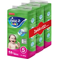Fine Baby Fast Sorption, Size 5, Maxi, 11-18 kg, Jumbo Pack, 132 Diapers