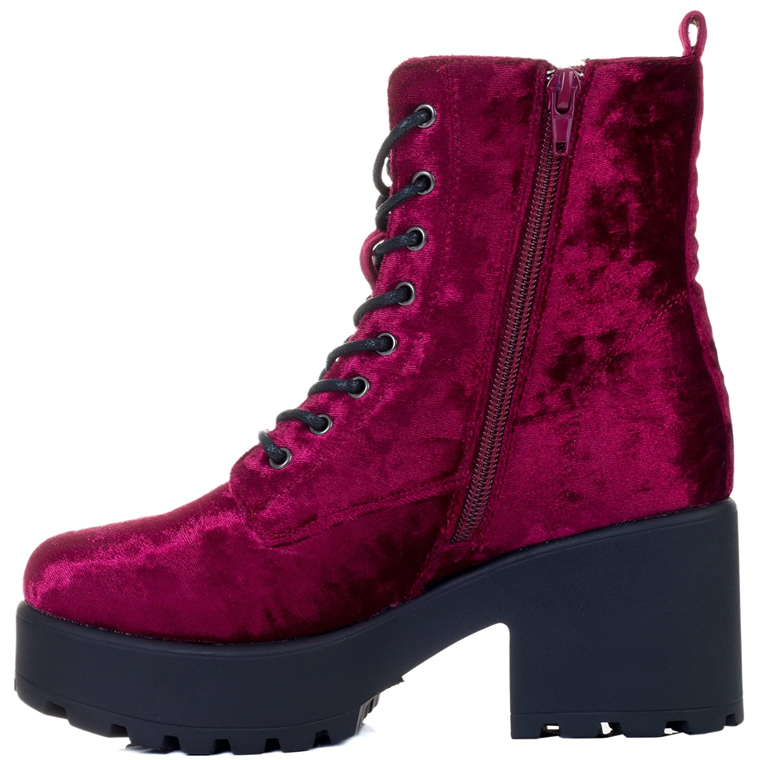 Spylovebuy Shotgun Block Heel Cleated Sole Lace up Platform Ankle Boots B079Y4TZJL 8 B(M) US|Red Wine Velvet Style