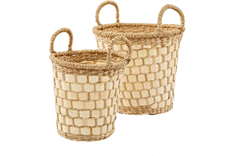 Amazon Com Artera Home Round Handwoven 2 Piece Wicker Basket Set With Handles For Plant Crafts Toy Miscellaneous Items Small Seagrass Palm Leaf Baskets Set Of 2 Home Kitchen