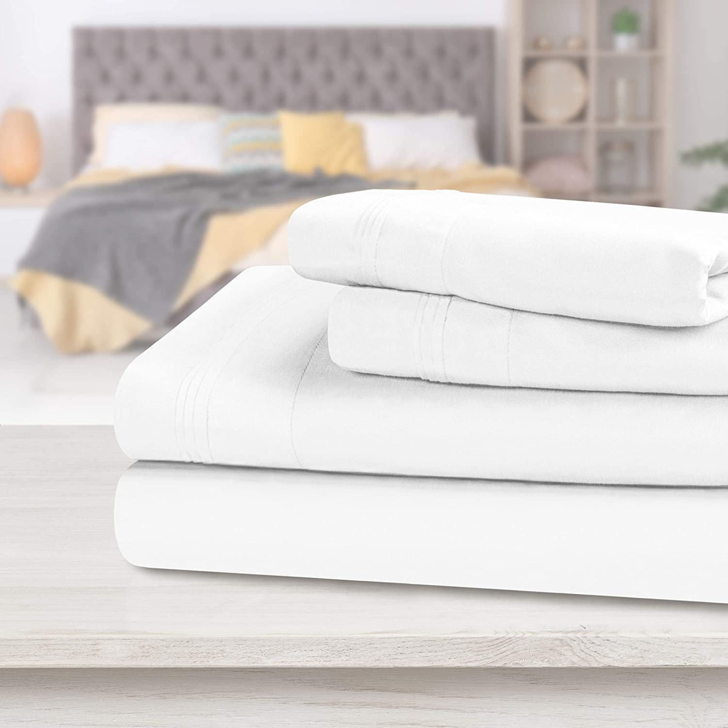 SUPERIOR Egyptian Cotton Solid Bed Sheet Set, Olympic Queen, White, 4-Pieces