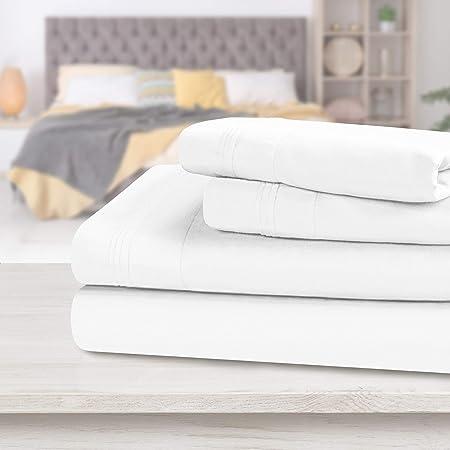 Juego de sábanas de algodón egipcio superior, juego de sábanas olímpicas Queen, blanco, 4 piezas: Amazon.es: Hogar