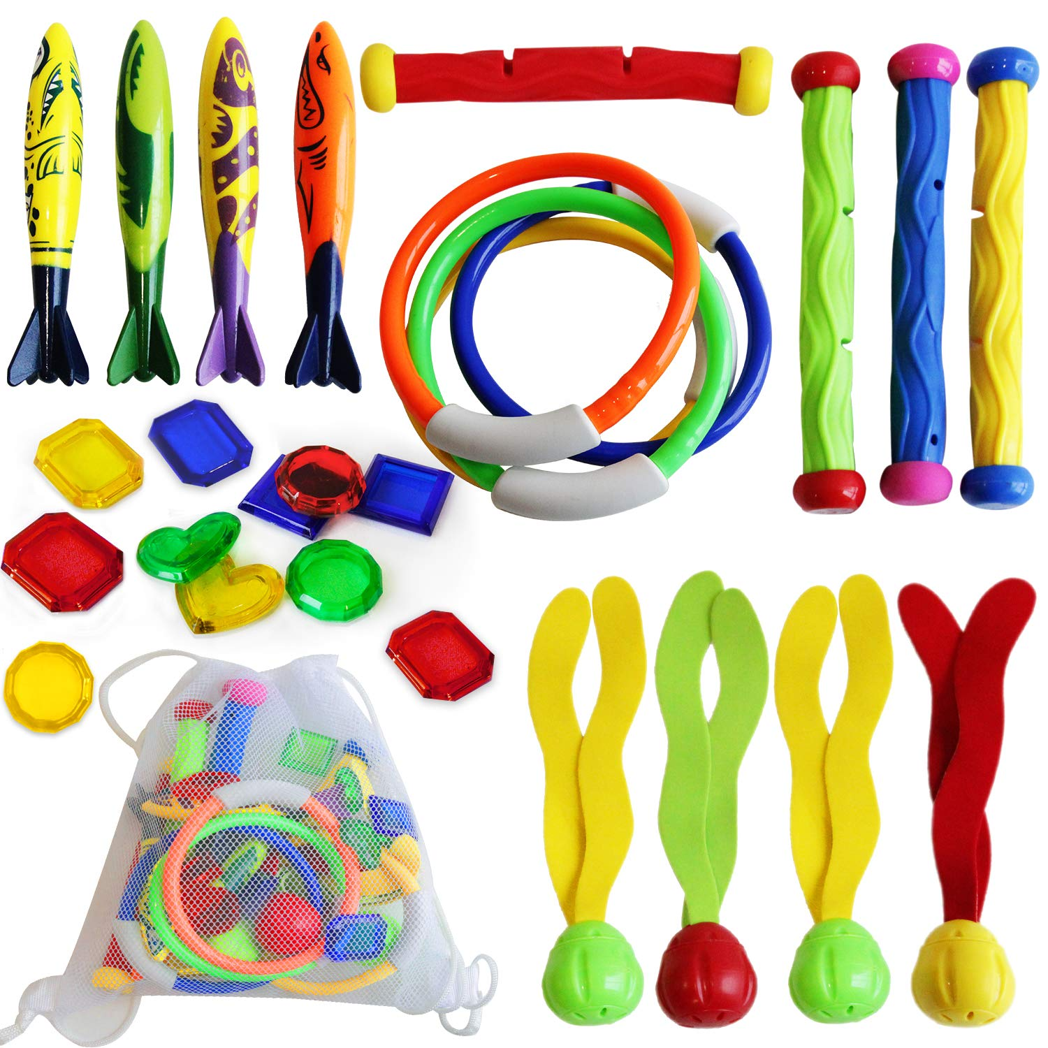 ToyerBee Diving Toys, 29 Pack Pool Toys with Organizer for Kids/Toddlers, Underwater Diving Rings(4 Pcs), Toypedo Bandits(4 Pcs), Diving Sticks(4 Pcs), Diving Toy Balls(4 Pcs) with Underwater Treasure