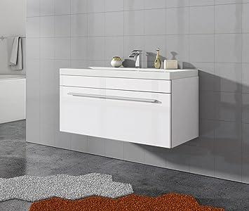 Badezimmer Badmöbel Porto 90 cm Hochglanz weiß - Unterschrank ...