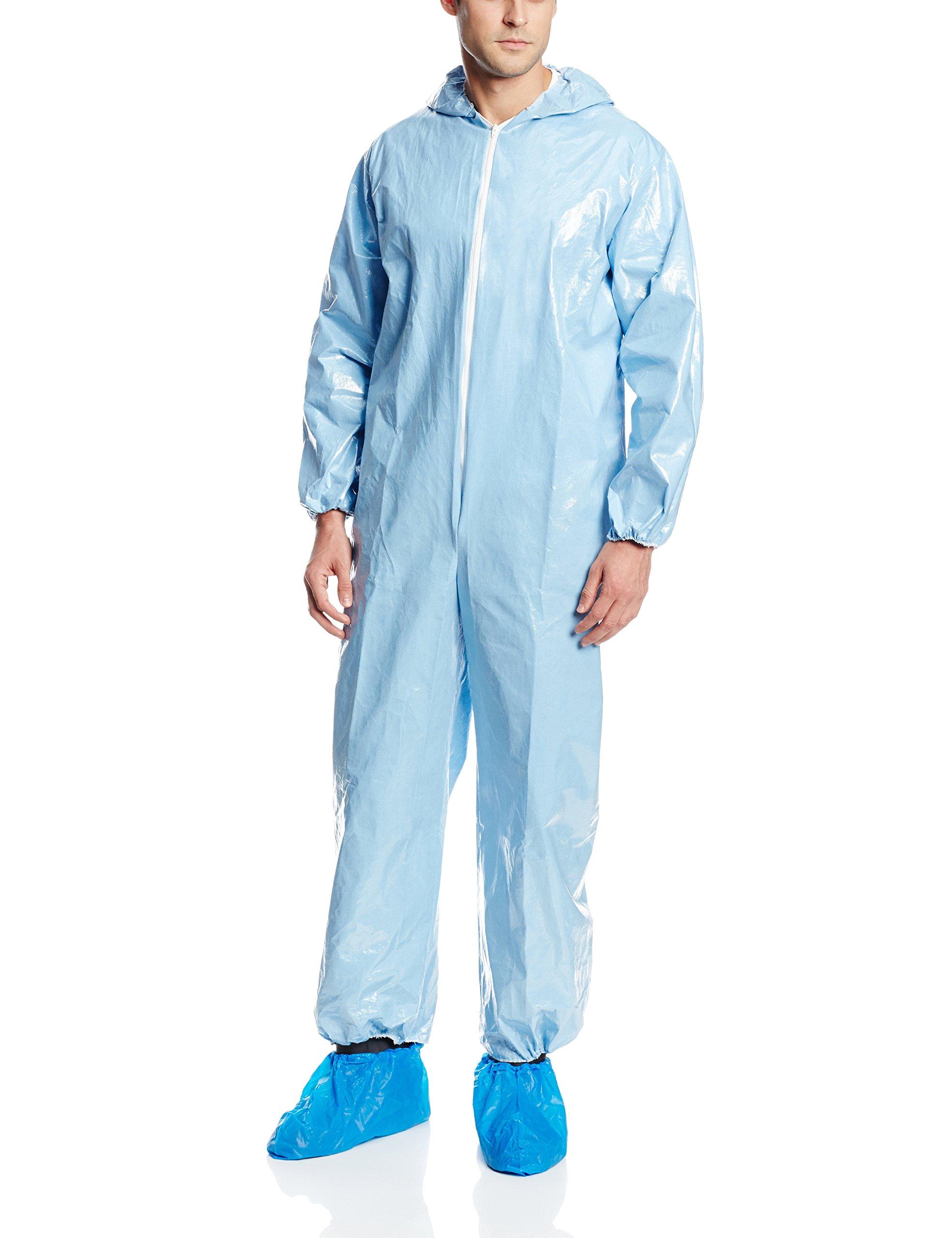 Bulwark Flame Resistant PVC Coated Chemical Splash Disposable Hooded Coverall, Sky Blue, Medium