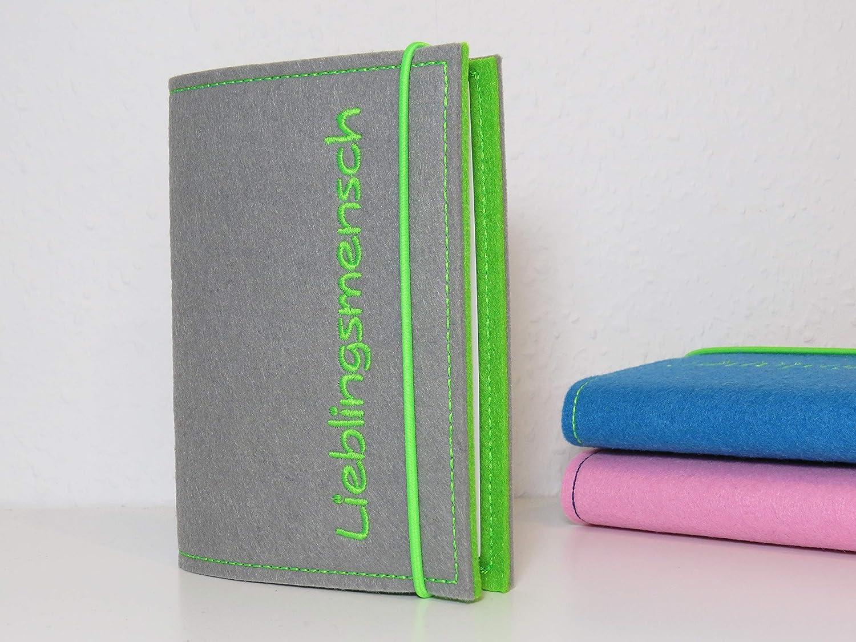 Kalender personalisiert Wunschtext Kalenderh/ülle A6 aus Filz inkl